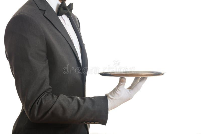 Kelner die een dienblad houdt stock afbeeldingen