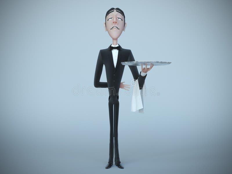 Kelner die in rok leeg dienblad en servet houden het 3d teruggeven royalty-vrije illustratie