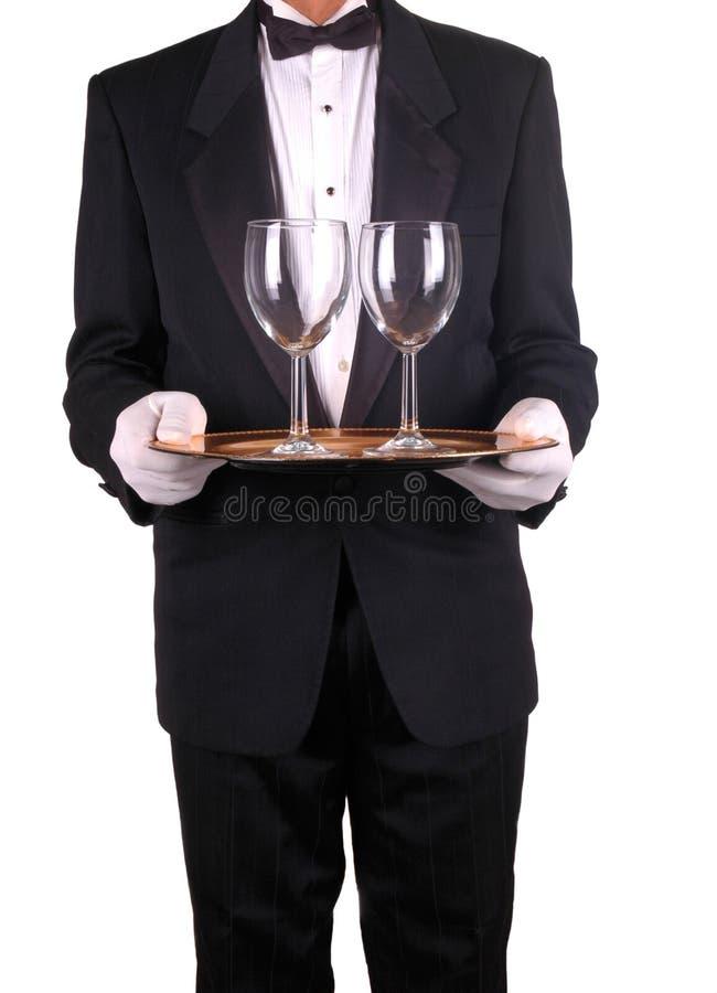 Kelner en Dienblad met de Glazen van de Wijn royalty-vrije stock foto's