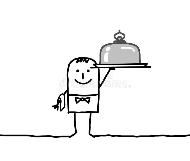 Kelner en zilveren schotel vector illustratie