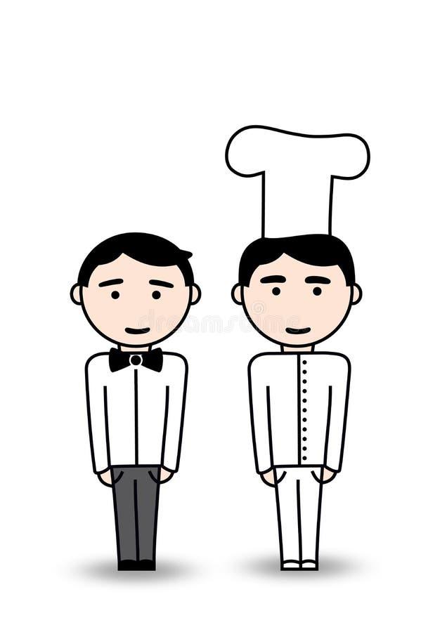 Kelner i kucharz ilustracja wektor