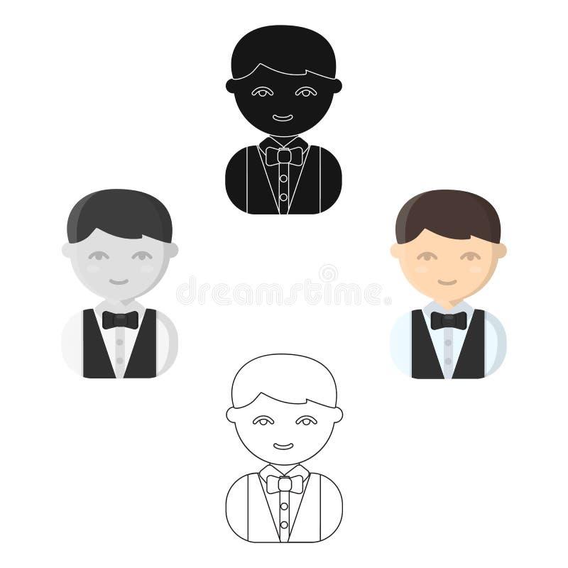 Kelner kreskówka, czarna ikona Ilustracja dla sieci i mobilnego projekta ilustracja wektor