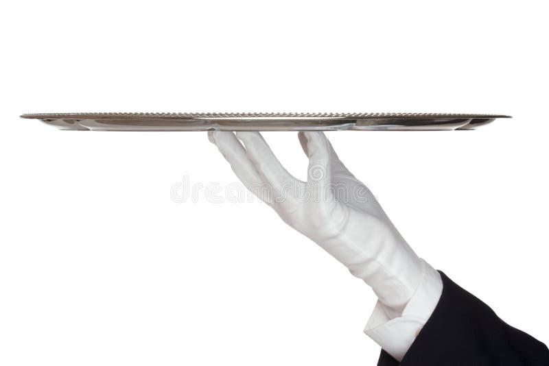 Kelner met dienblad stock foto's