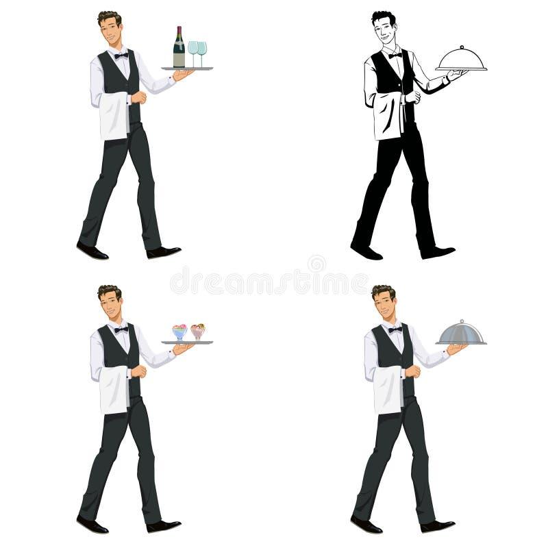 Kelner met een dienblad royalty-vrije illustratie