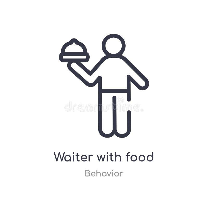 kelner met het overzichtspictogram van het voedseldienblad ge?soleerde lijn vectorillustratie van gedragsinzameling editable dunn stock illustratie