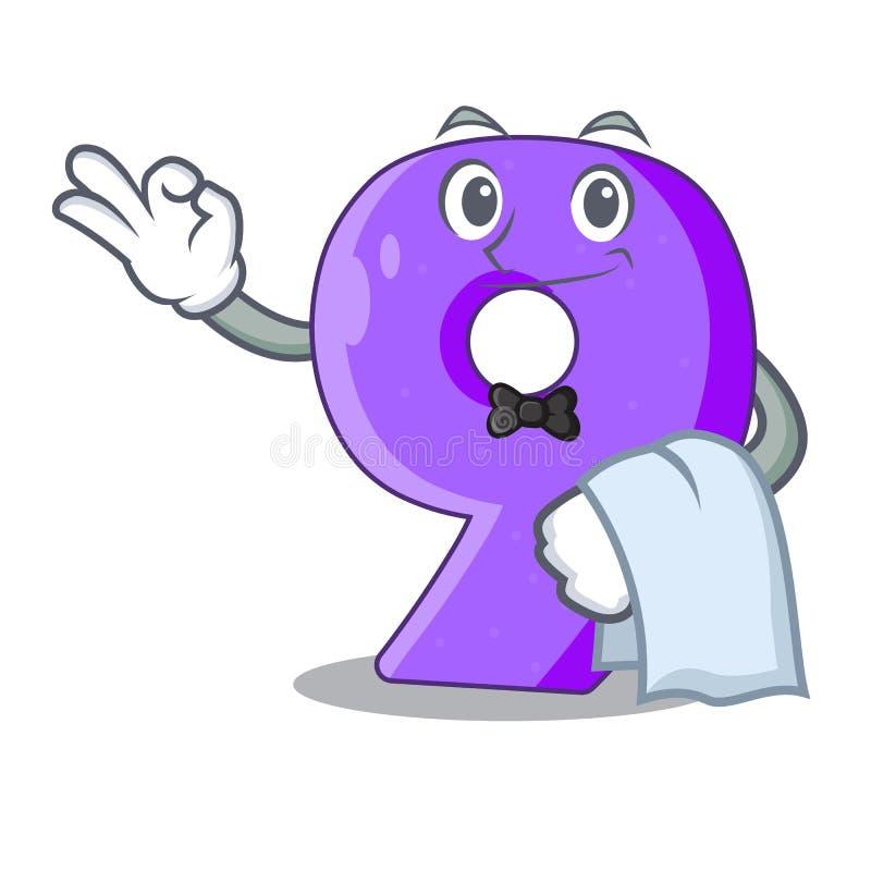 Kelner nummer Negen gestalte gegeven ballondoopvont charcter vector illustratie