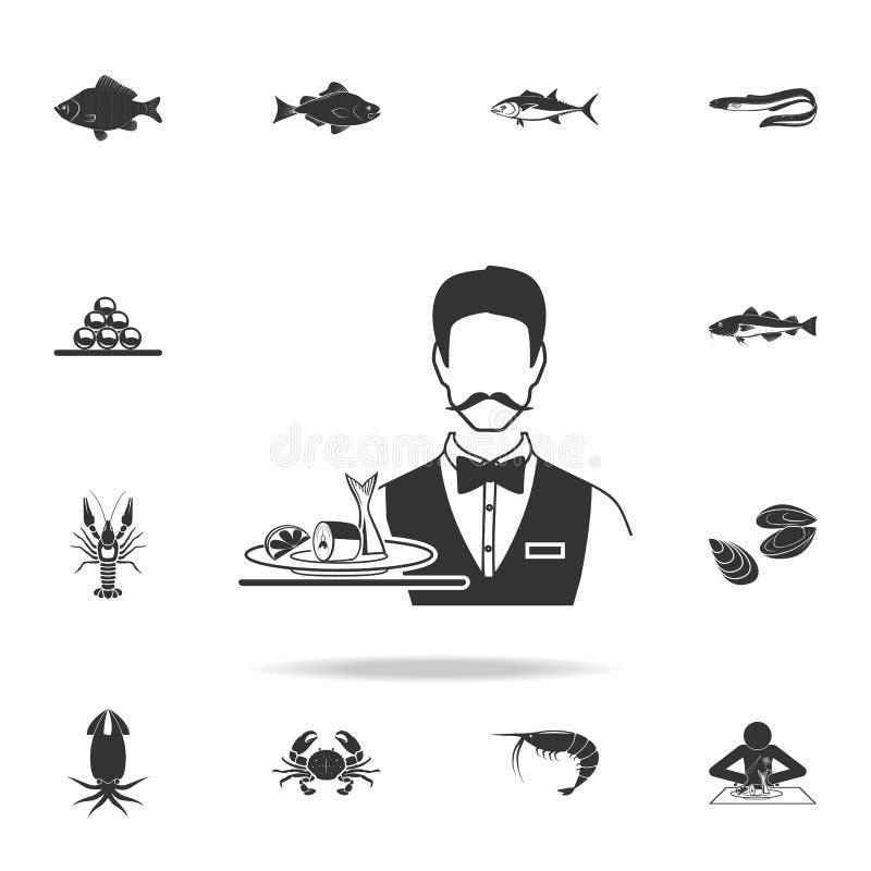 kelner porci śledzia ikona Szczegółowy set rybie ilustracje Premii ilości graficznego projekta ikona Jeden inkasowe ikony royalty ilustracja