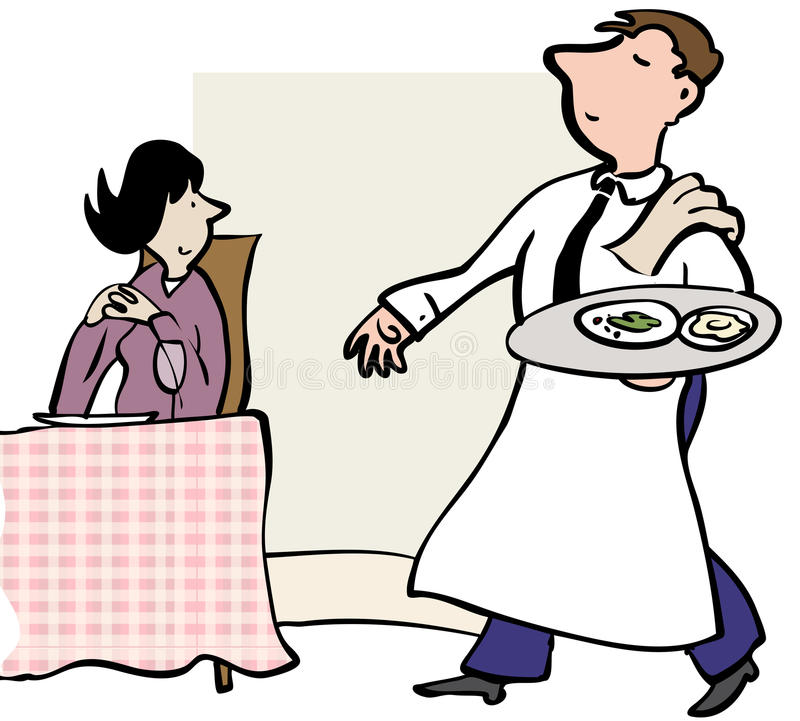 Kelner porcja ilustracja wektor
