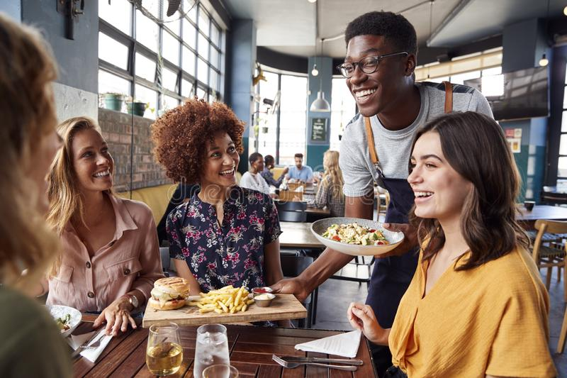 Kelner porcji grupa Żeńscy przyjaciele Spotyka Dla napojów I jedzenia W restauracji fotografia royalty free