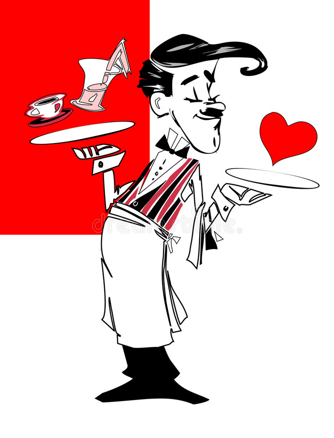 kelner praca serii ilustracja wektor