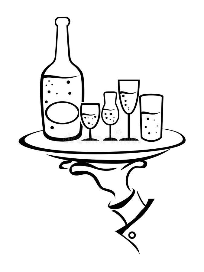 Kelner ręka Trzyma wino tacę ilustracja wektor