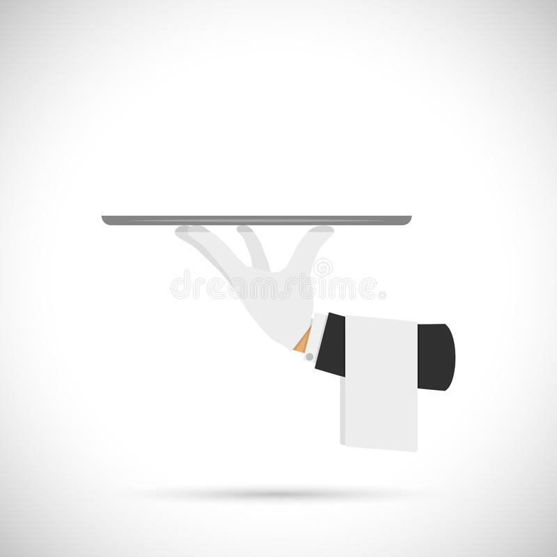 Kelner ręka z tacą i ręcznikiem ilustracja wektor