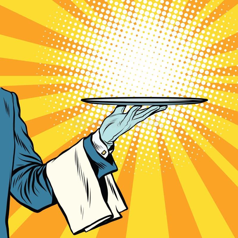 Kelner ręki tacy prezentacja ilustracja wektor