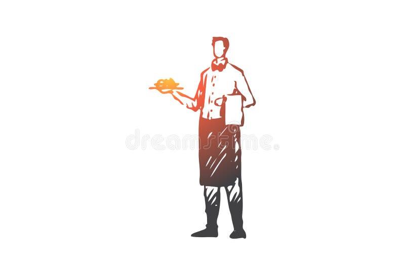 Kelner, restaurant, koffie, de dienst, schotelconcept Hand getrokken geïsoleerde vector vector illustratie