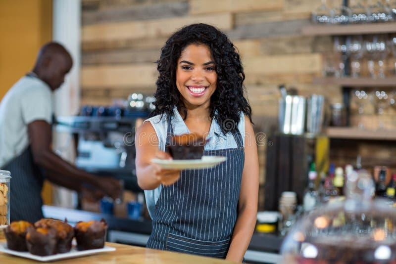 Kelner słuzyć filiżanka tort przy kontuarem obraz stock