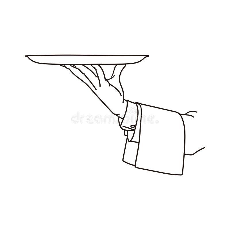 Kelner taca Handmade rysunek na białym tle royalty ilustracja
