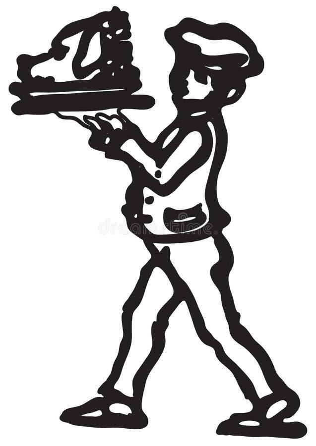 Kelner w kostiumu znosi świniowatą ` s głowę również zwrócić corel ilustracji wektora ilustracja wektor