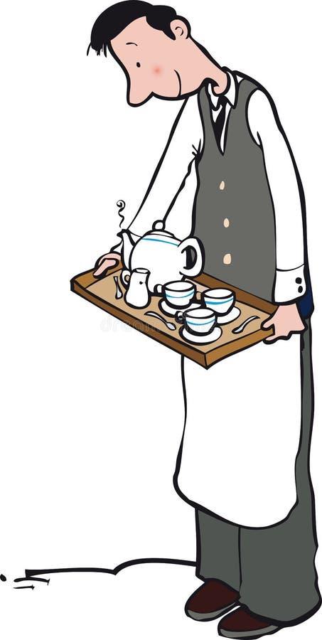 Kelner z herbacianą tacą royalty ilustracja