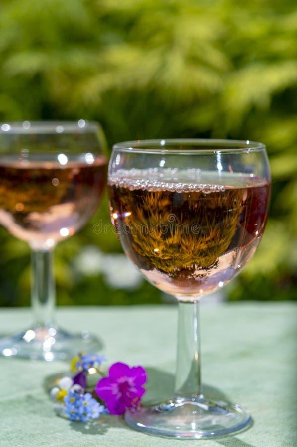 Kelnera dolewania zimna różany wino w szkłach w lato słonecznym dniu w kwitnąć ogród fotografia royalty free