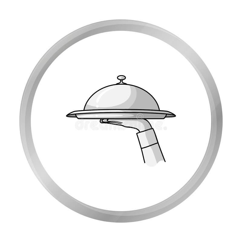 Kelnera ` s ręka trzyma tacę z cloche ikoną odizolowywającą na bielu Restauracyjny symbolu zapas ilustracja wektor