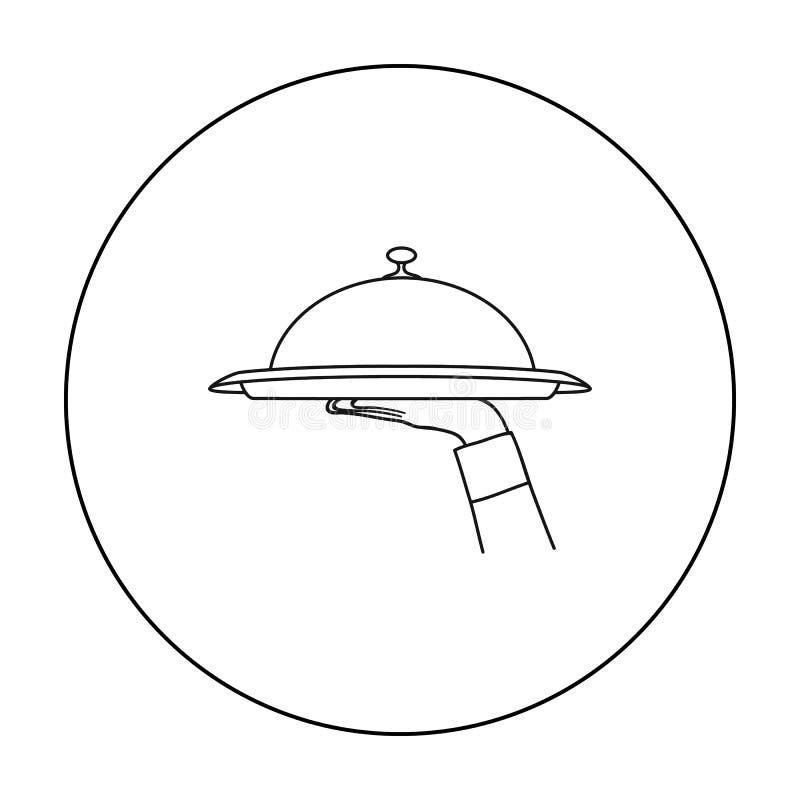 Kelnera ` s ręka trzyma tacę z cloche ikoną w konturu stylu odizolowywającym na białym tle Restauracyjny symbolu zapas ilustracji