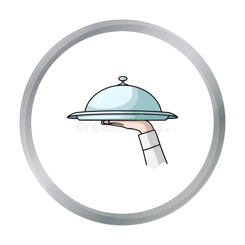 Kelnera ` s ręka trzyma tacę z cloche ikoną w kreskówka stylu odizolowywającym na białym tle Restauracyjny symbolu zapas ilustracja wektor