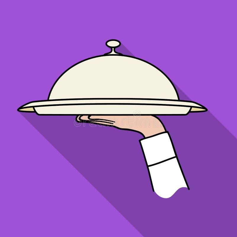 Kelnera ` s ręka trzyma tacę z cloche ikoną w mieszkanie stylu odizolowywającym na białym tle Restauracyjny symbolu zapasu wektor royalty ilustracja