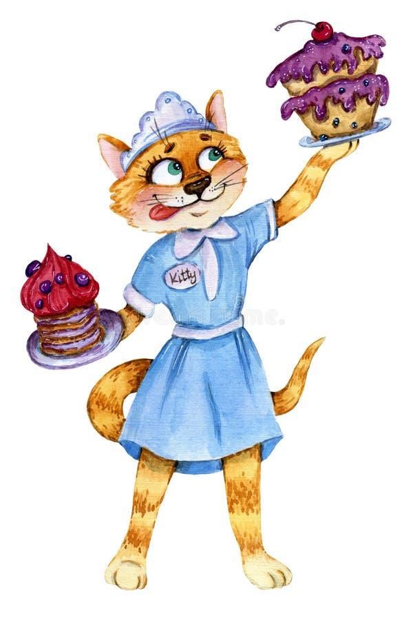 Kelnerka kot z dwa tortami ilustracji