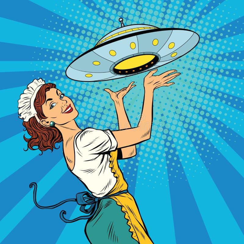 Kelnerka z UFO ilustracja wektor