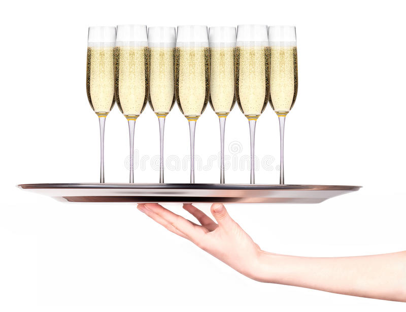 Kelnerki mienia taca z szkłami szampan obraz stock
