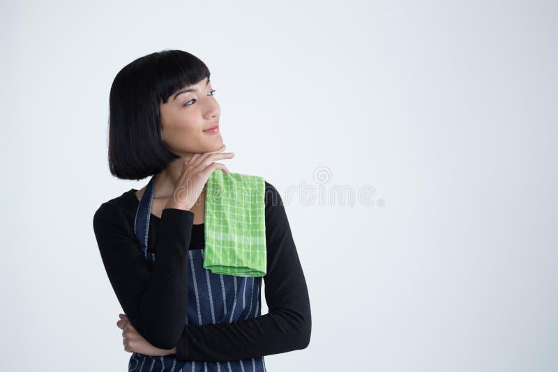 Kelnerki pozycja przeciw białemu tłu zdjęcia stock