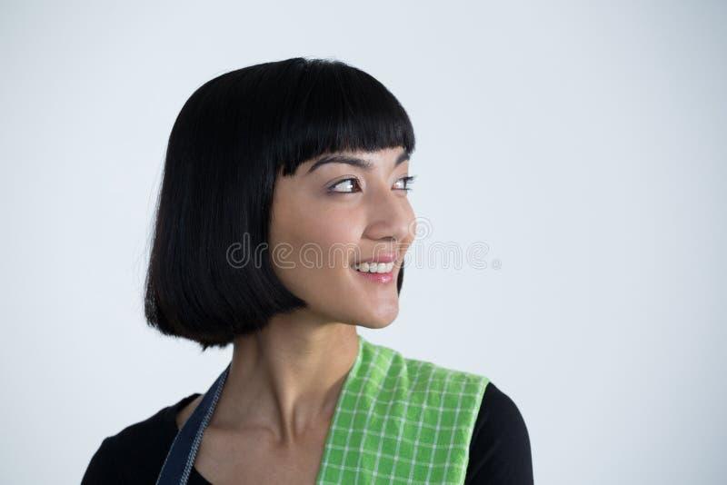 Kelnerki pozycja przeciw białemu tłu obraz stock