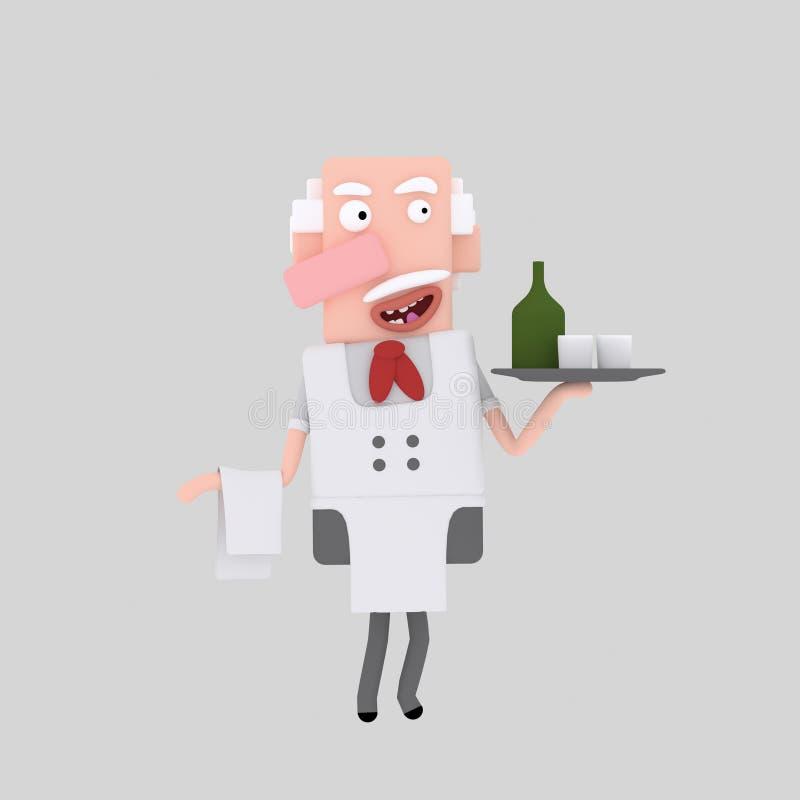 Kelners dragende dranken vector illustratie