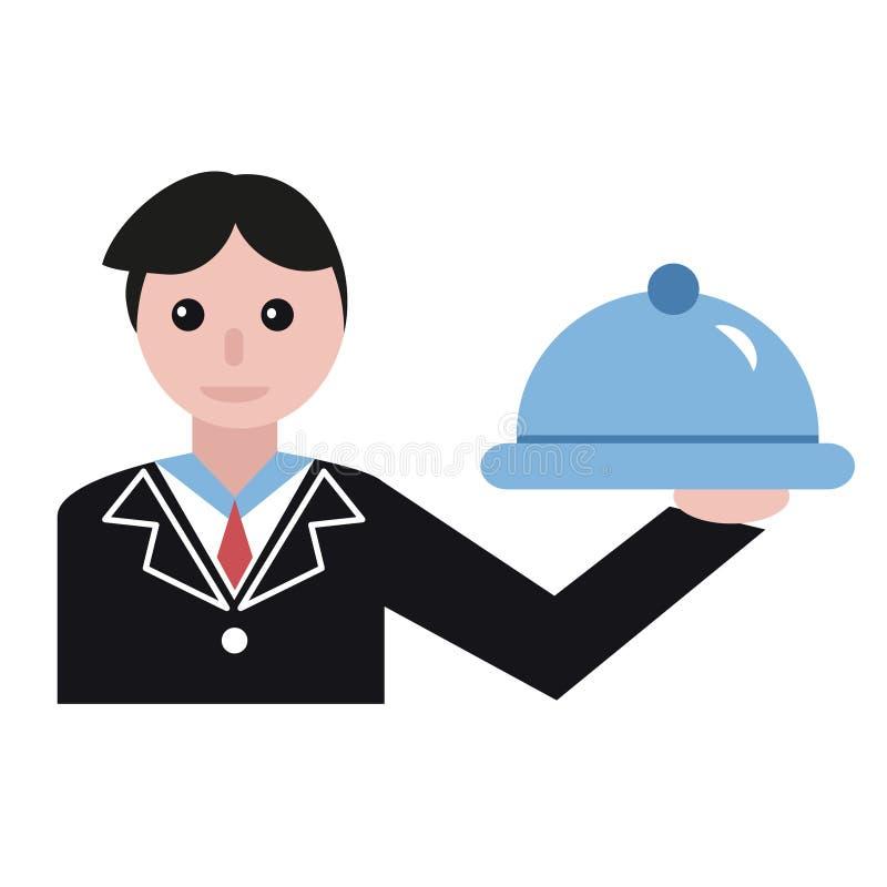 Kelners vlakke illustratie royalty-vrije illustratie