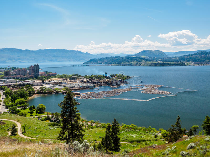 Kelowna, British Columbia, Canada, on the Okanagan lake, city view from mountain overlook royalty free stock photography