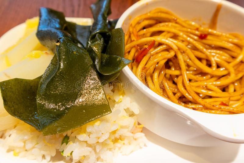 Kelp cold rice noodles. Rice noodle, a Chinese characteristic snack, is a very popular food in southern China. Rice noodles are made of rice and made of strips stock photos