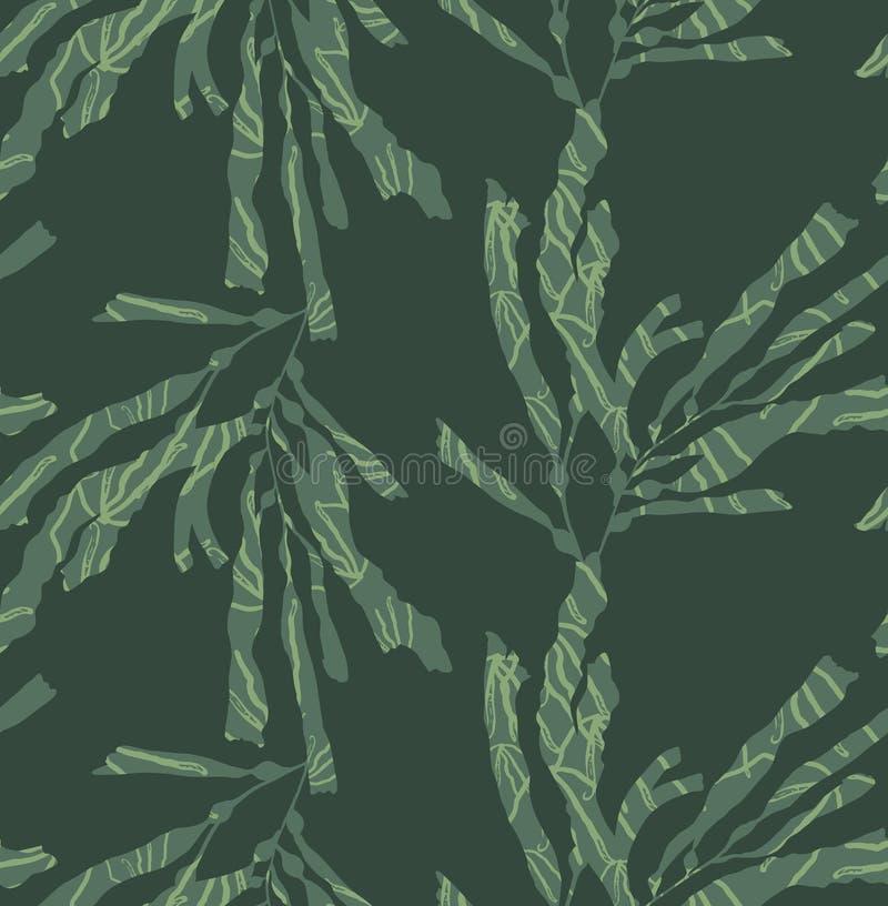 Kelp lasowa zieleń z teksturą ilustracja wektor