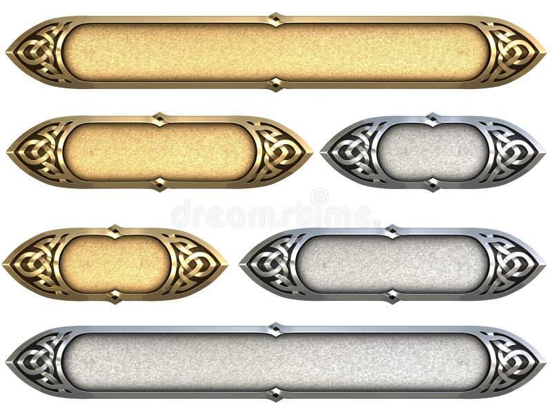 Keltisch Aanplakbordgoud stock afbeelding