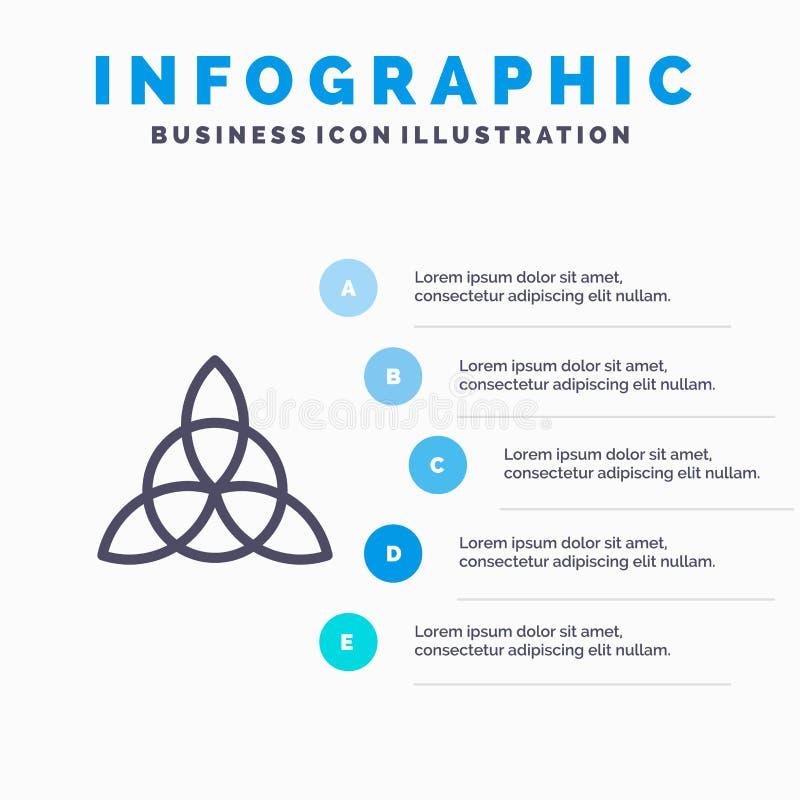 Keltisch, Irland, Blumen-Linie Ikone mit Hintergrund infographics Darstellung mit 5 Schritten lizenzfreie abbildung