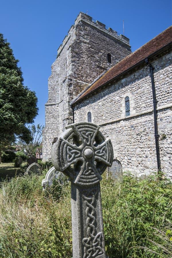 Keltisch Kruis in St Mary ` s kerkhof, Pevensey & Westham royalty-vrije stock fotografie
