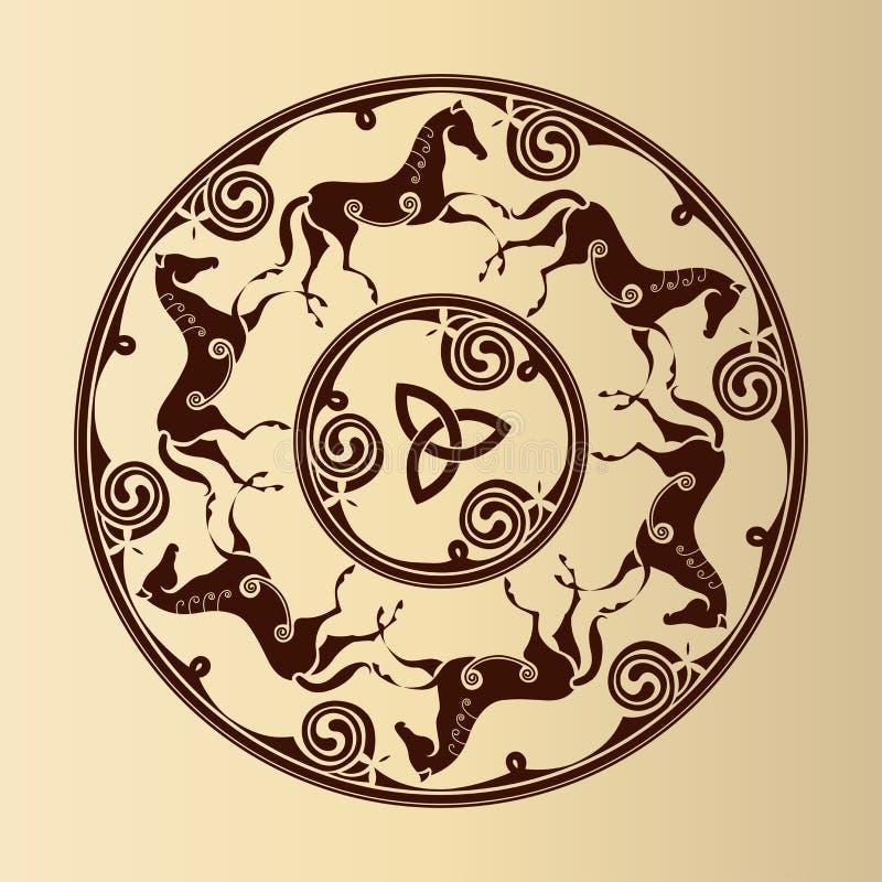 Keltisch symbool van paarden stock illustratie