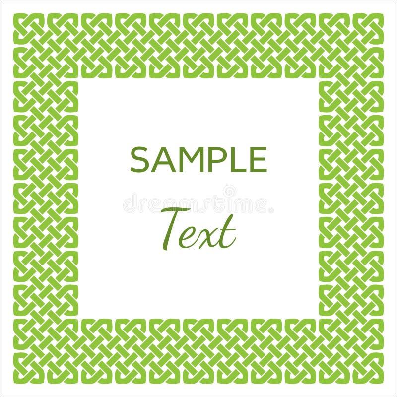 Keltische Art knotete Rahmen mit Raum für Ihren Text, Grün auf Weiß, Vektorillustration stock abbildung