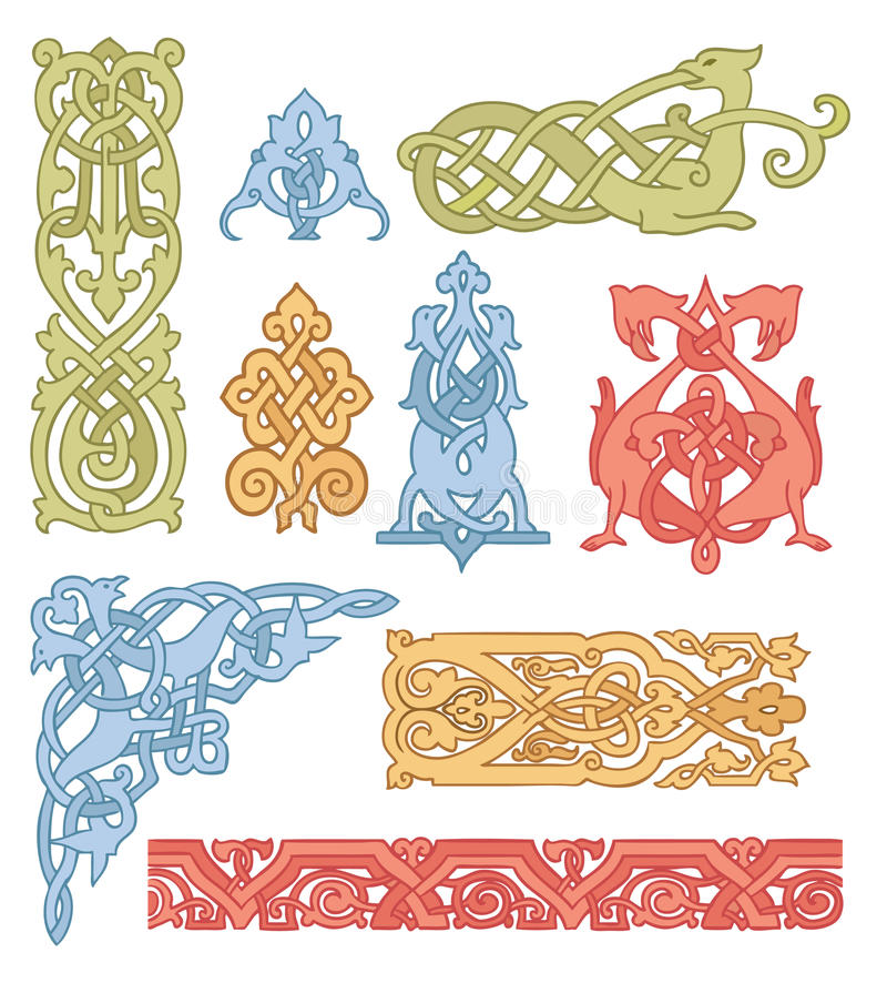 Keltische Farbenverzierungen eingestellt vektor abbildung