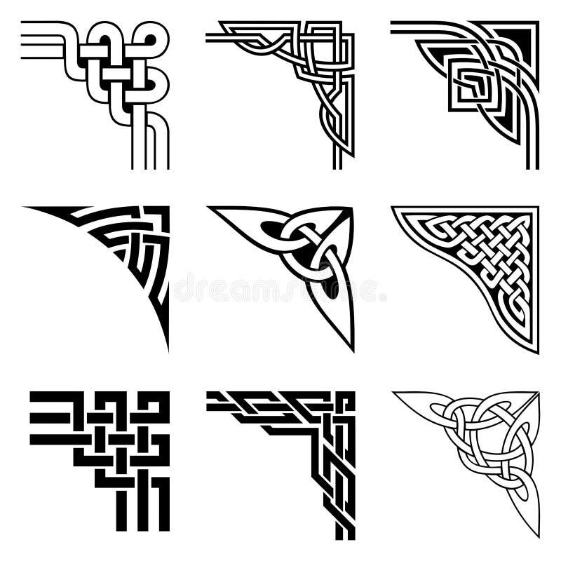 Keltische geplaatste hoeken stock illustratie
