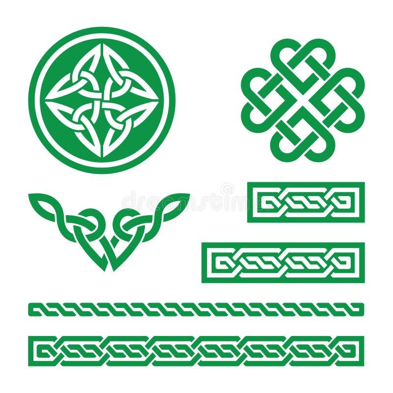 Keltische groene knopen, vlechten en patronen - vector royalty-vrije illustratie