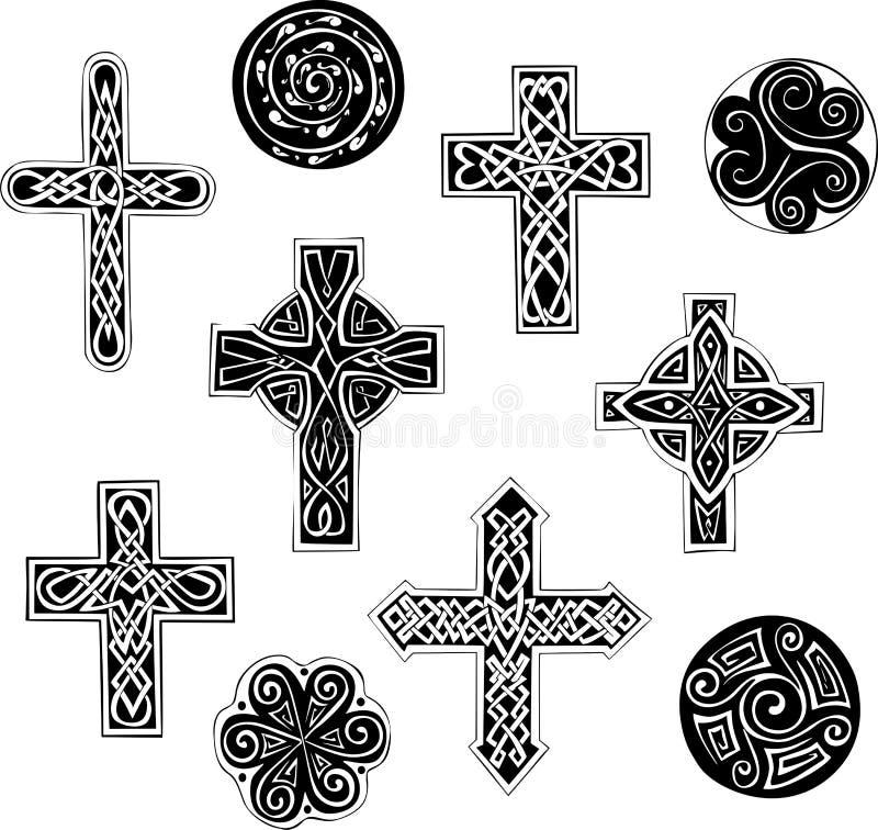 Keltische Knoten Kreuze und cpirals lizenzfreie abbildung