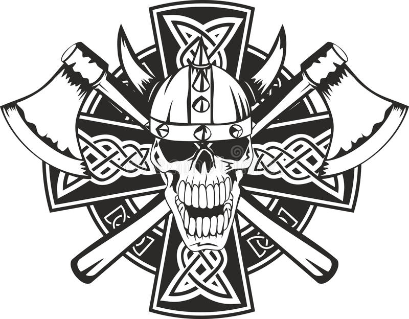 Keltische kruis en schedel royalty-vrije illustratie
