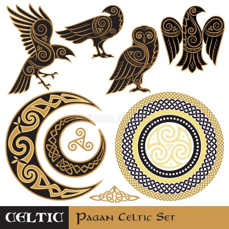 Keltischer Magiesatz Keltischer gehörnter Mond und Sun, keltische Eule, keltischer Rabe stock abbildung