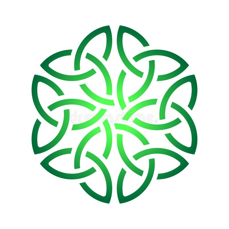 Keltischer Shamrockknoten im Kreis Symbol von Irland stock abbildung