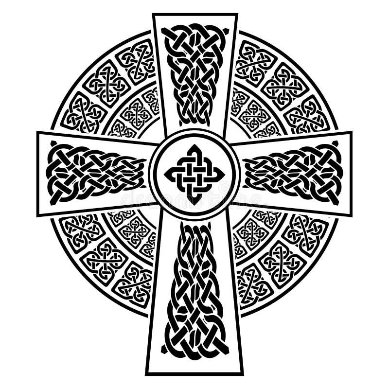 Keltisches Art Kreuz mit den Ewigkeitsknotenmustern in weißem und in Schwarzem mit dem Anschlagelement umgeben durch 2 geknotet vektor abbildung